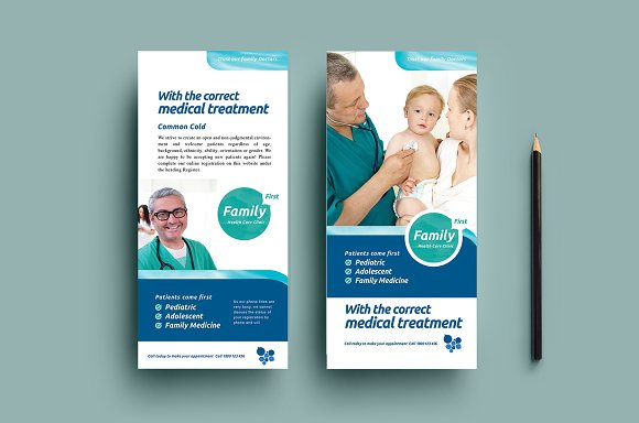 Healthcare Dl Card Template Card Templates Creative Market