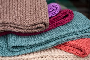 Colorful knitted scarves