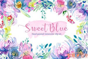 Sweet Blue Watercolor Floral clipart