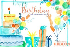 Birthday watercolor clip art