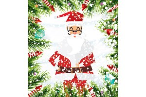 Santa Claus. Christmas background.