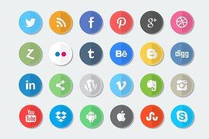 24 Flat Social Media Icon Set