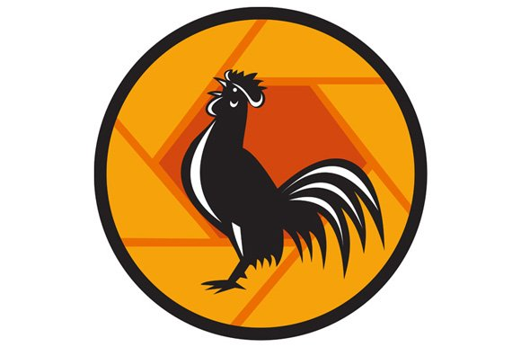 Rooster Crowing Shutter Circle Retro in Illustrations