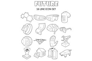 Future icons set, outline style