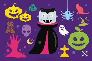 Halloween costume characters vector