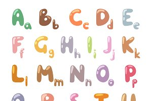 Cartoon Alphabet symbols vector set