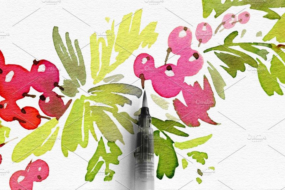 Watercolor Christmas Wreath Png.Watercolor Christmas Wreath Vector Postcard Templates