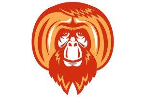 Orangutan Bearded Front Retro