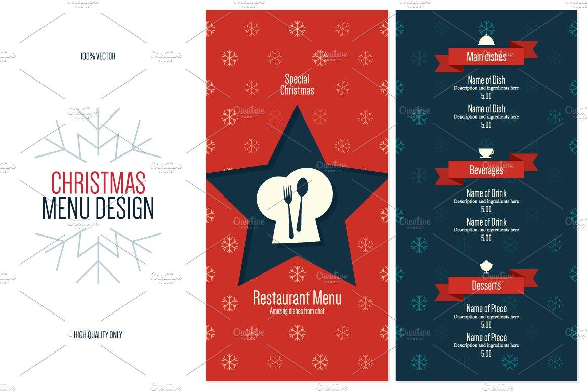 special christmas festive menu brochure templates creative market