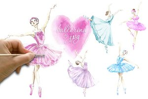 Watercolor ballerina Set 2