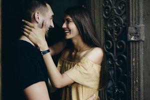 couple posing in the doorway