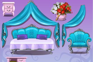 Blue furniture in cartoon style