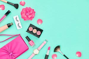 Fashion Cosmetic Makeup Accessories. Essentials