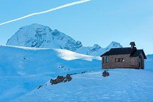 chapel in winter mountain