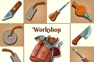 Set of tools for gardener, 9 items