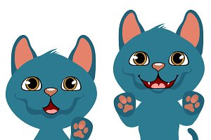 Blue cartoon kitten, cat animation