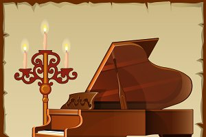 Antique piano with candlestick