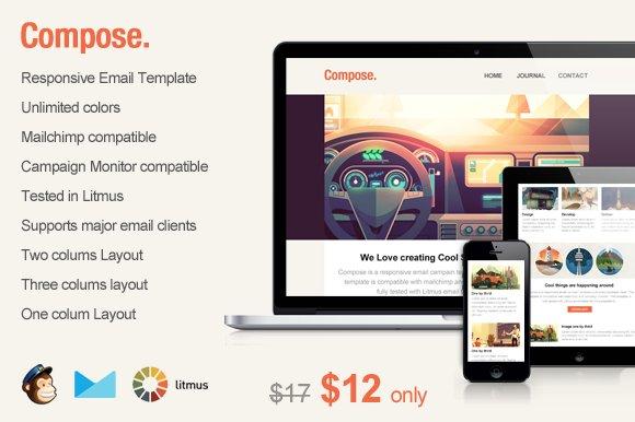 compose responsive email template templates creative market. Black Bedroom Furniture Sets. Home Design Ideas