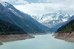 Glacier alpine mountain lake