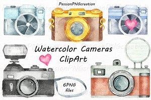 Watercolor Cameras Clipart