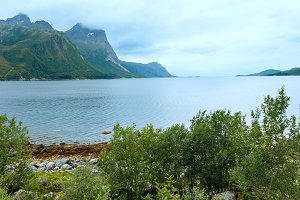 Fjord summer cloudy view (Norway)