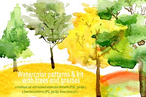 Watercolor trees, grass.Patterns,Kit