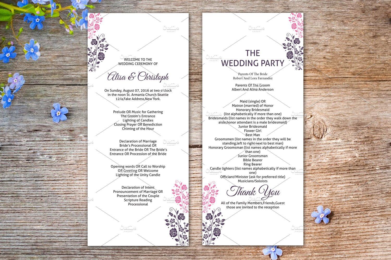 Wedding Ceremony Program Template Stationery Templates Creative Market