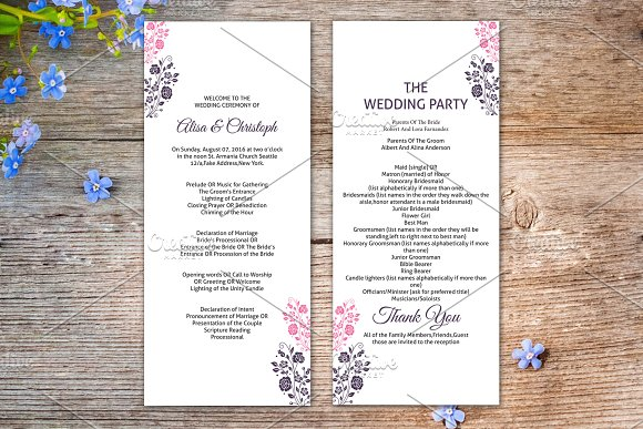 wedding ceremony program template stationery templates creative