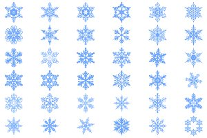 Set of 36 vector snowflakes