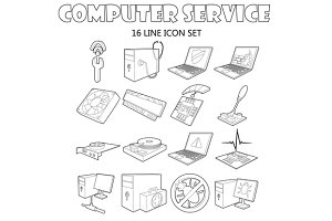 Computer service icons set