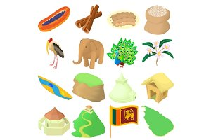 Sri lanka icons set, cartoon style