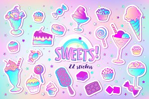 SWEETS! 22 patches and stickers