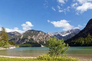 Summer alpine mountain lake