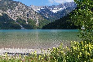 Summer alpine mountain lake