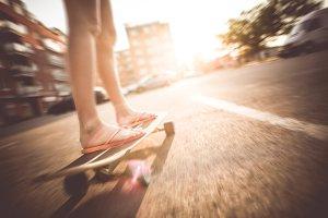 Crazy Riding Longboard in Flip Flops