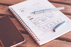 Sketching Webdesign Layout Wireframe