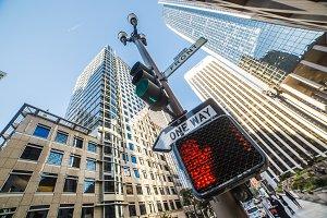 No Way Sign on Traffic Light Pole