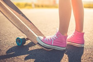 Girl with Pink Shoes Longboard Ride