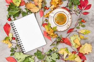 Notebook coffee Autumn flat lay