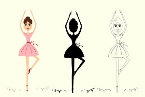 Cartoon Ballerina Girl Set