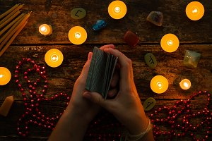 fortuneteller with tarot cards
