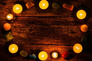candles, stones for divination