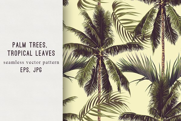Palm trees,tropical leaves pattern