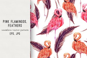 Pink flamingos,feathers pattern