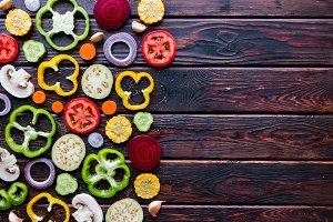 sliced fresh vegetables