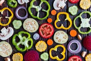 background of sliced vegetables