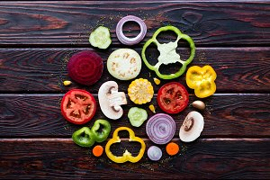 vegetables in the form of a circle