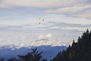 Parachutist in the Mountains