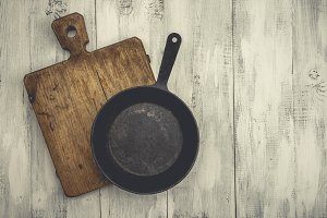 Old pan and cutting board