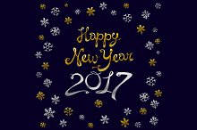Happy new year card. Gold
